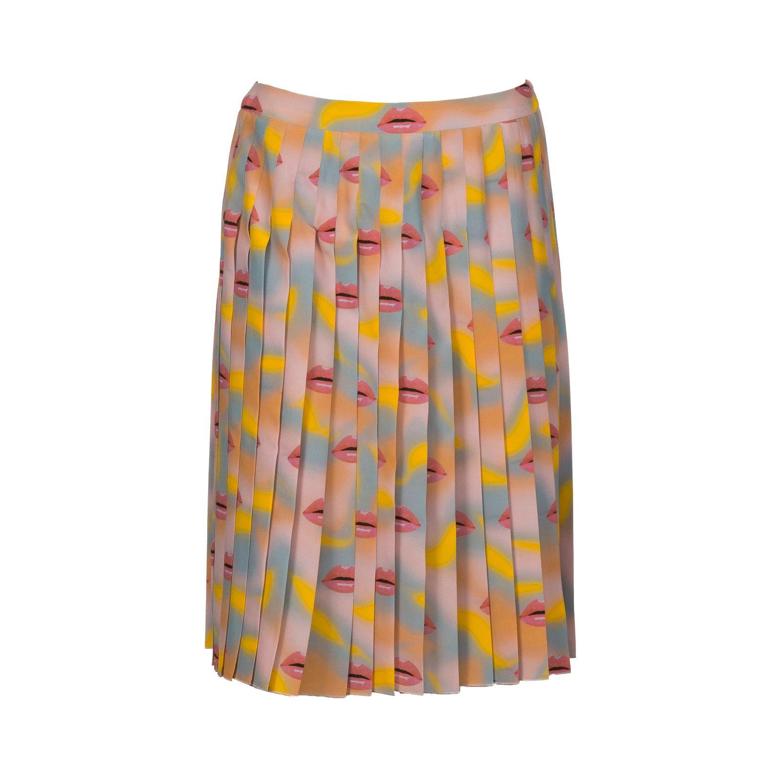 5d2c4af42c Prada Silk Lip Print Pleated Skirt In Alabaster + Apricot | ModeSens