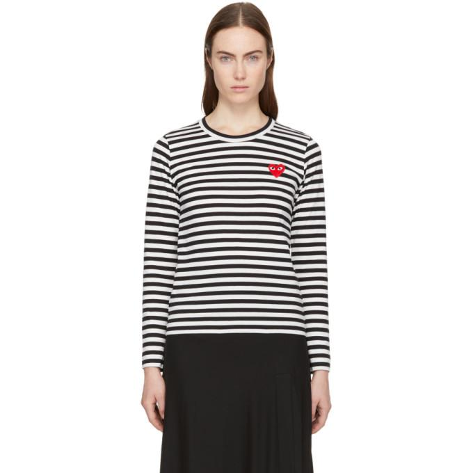 ed6882999d Comme Des GarÇOns Play Black & White Long Sleeve Striped Heart Patch T-Shirt
