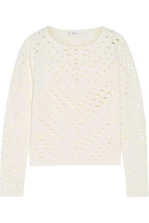 Milly Woman Cutout Stretch-Knit Sweater White