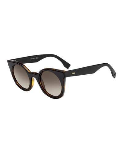 a900bec9c16 Fendi Round Two-Tone Gradient Sunglasses In Plum