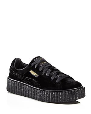 best service 2fa56 43a43 Fenty Puma X Rihanna Women's Velvet Lace Up Creeper Sneakers in Black