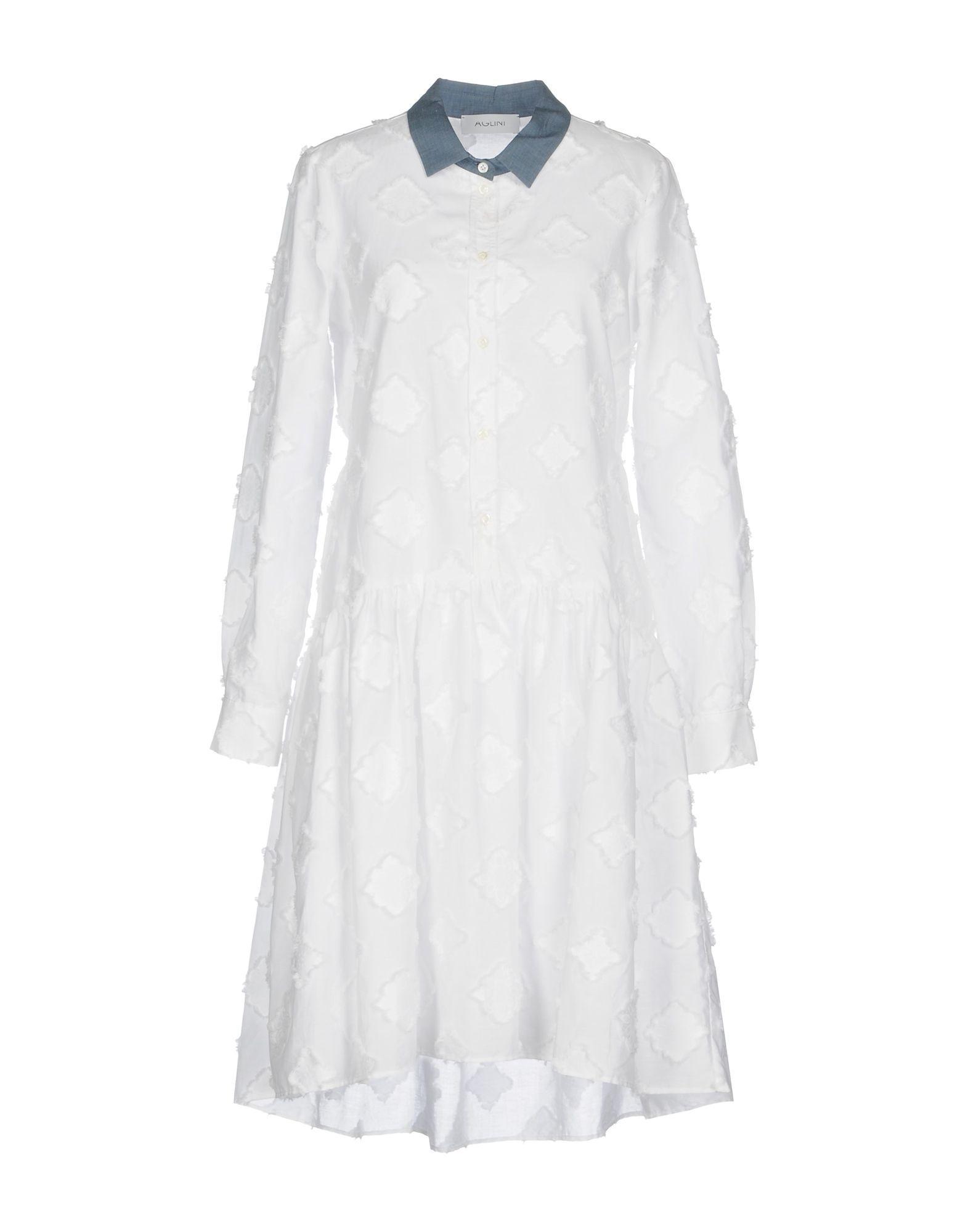 Aglini Knee-Length Dress In White