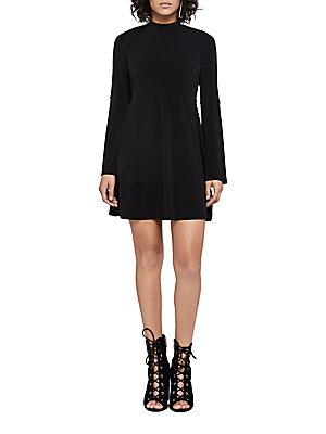 Bcbgeneration Turtleneck Fit-And-Flare Dress In Black
