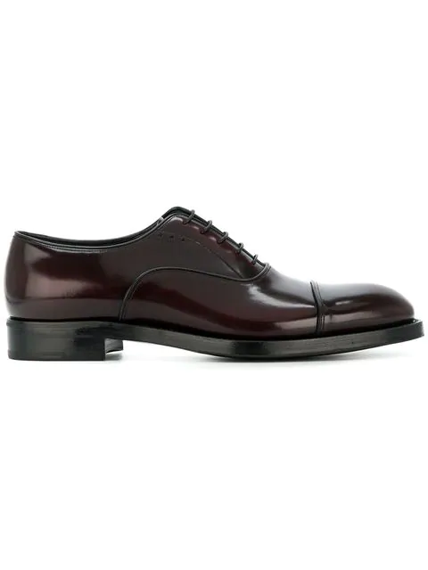 Prada Patent Oxford Shoes In Red