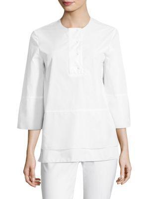 927eaeae6b0 Piazza Sempione Optical Cotton Tunic In White   ModeSens