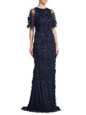 Theia Beaded Floral Gown In Midnight