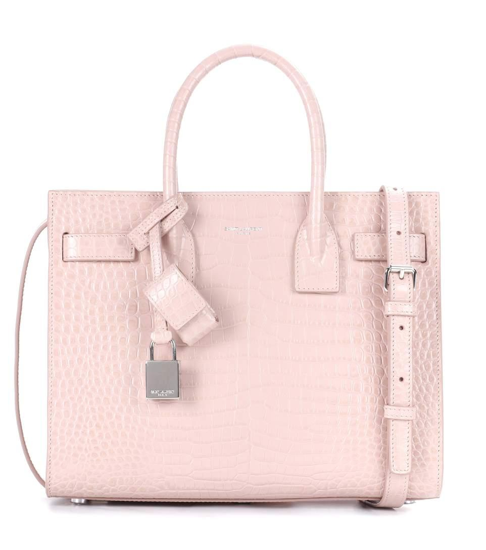 513eba57b04 Saint Laurent Sac De Jour Baby Croc-Effect Leather Tote In Pink ...