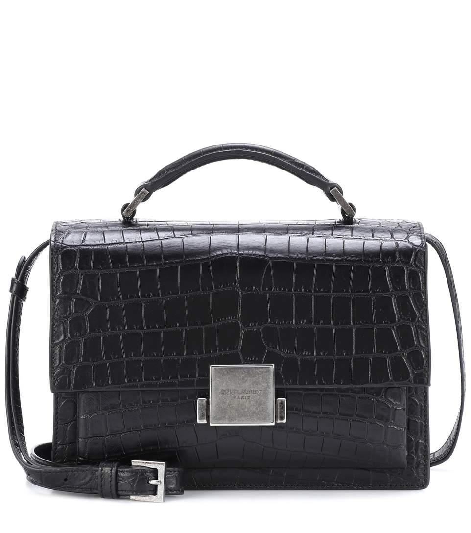 f7558256f5 Saint Laurent Medium Croc Embossed Bellechasse Shoulder Bag In Black ...