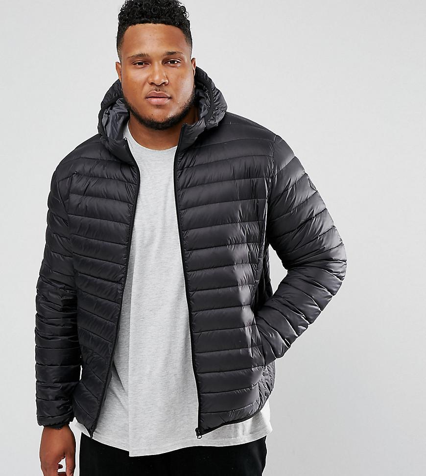 f083d936f Plus Silverado Down Puffer Jacket Hooded Slim Fit In Black - Black