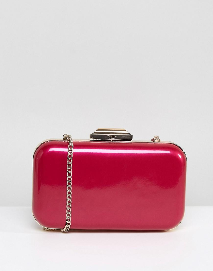 Dune Pink Metallic Box Clutch With Chain Strap - Pink