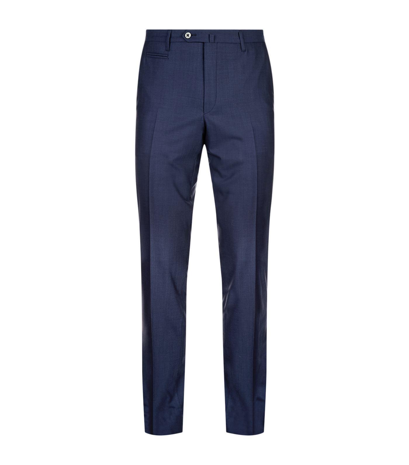 Corneliani Virgin Wool Trousers In Navy