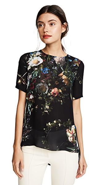 91cfcc38c Adam Lippes Pleated Floral-Print Silk Crepe De Chine Top In Black Multi.  Shopbop. 195Login to see price