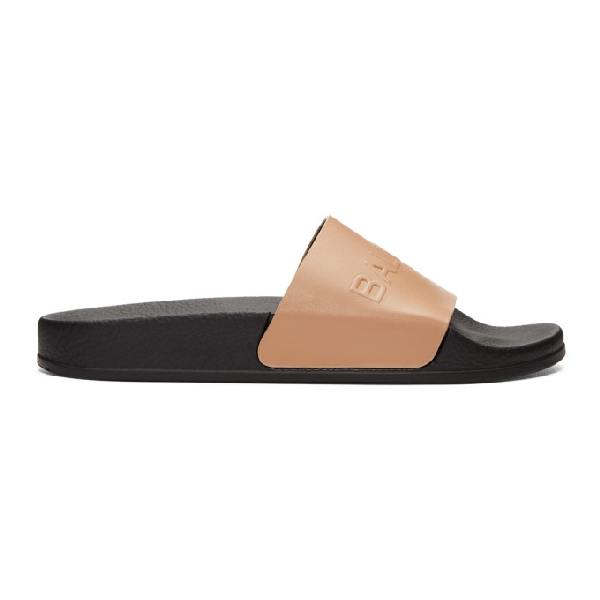 Balmain Leather Embossed Rubber Slides In 1021 Poudre