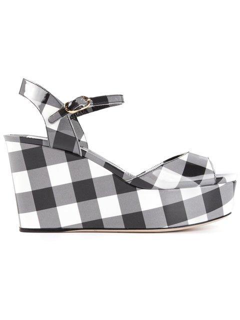 Dolce & Gabbana Gingham Wedge Sandals In Black