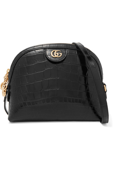 26cf45ff7dcb98 Gucci Ophidia Crocodile Small Shoulder Bag In Black | ModeSens
