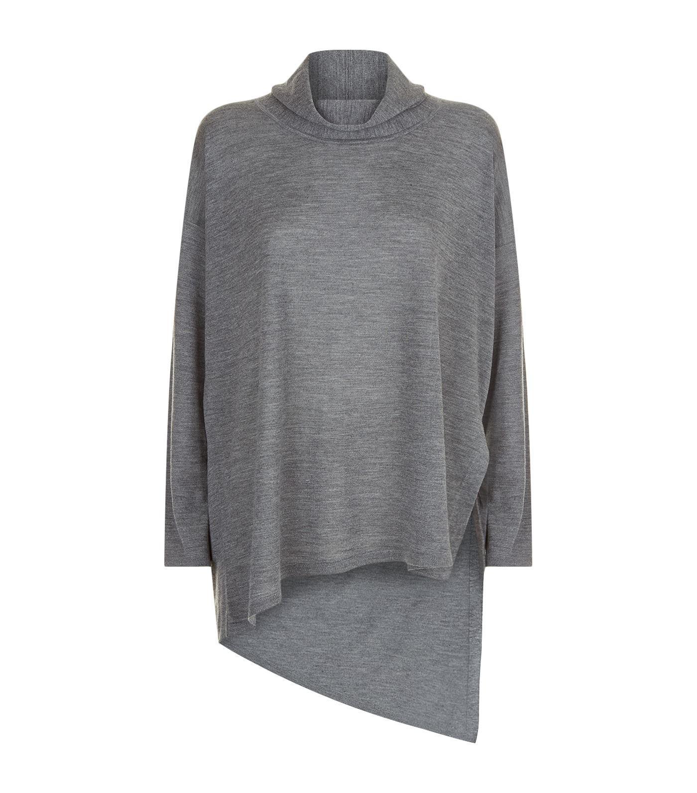 14c84470870dc Eileen Fisher High-Low Ultrafine Merino Wool Top In Ash