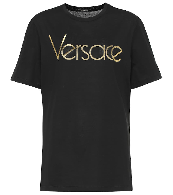 Versace Black Cotton T-shirt With Vintage Logo In A2003 Black