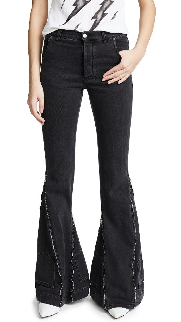 Faith Connexion Zip Flare Jeans In Black