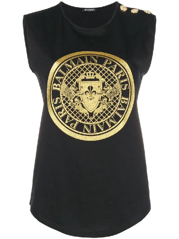 e590aeed Balmain Glitter-Embellished Logo-Print Cotton Tank Top In Black ...
