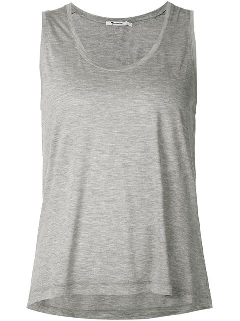 T By Alexander Wang Classic High Neck Flared Tank In Heather Grey