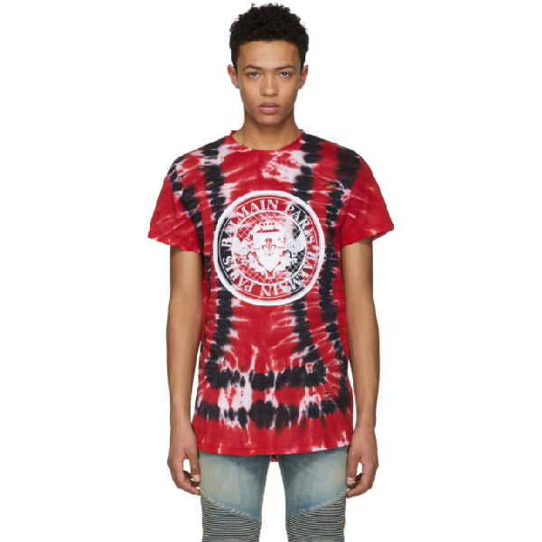 9d378877bbbc Balmain Red, Black And White Cotton T-Shirt With Tie-Dye Print In ...