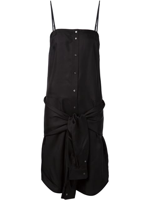 Alexander Wang T Knotted Sleeves Detail Dress In Black