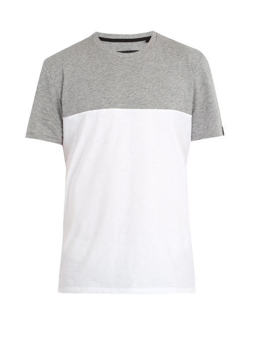 Rag & Bone Contrast-Panel Cotton-Jersey T-Shirt In Grey Multi
