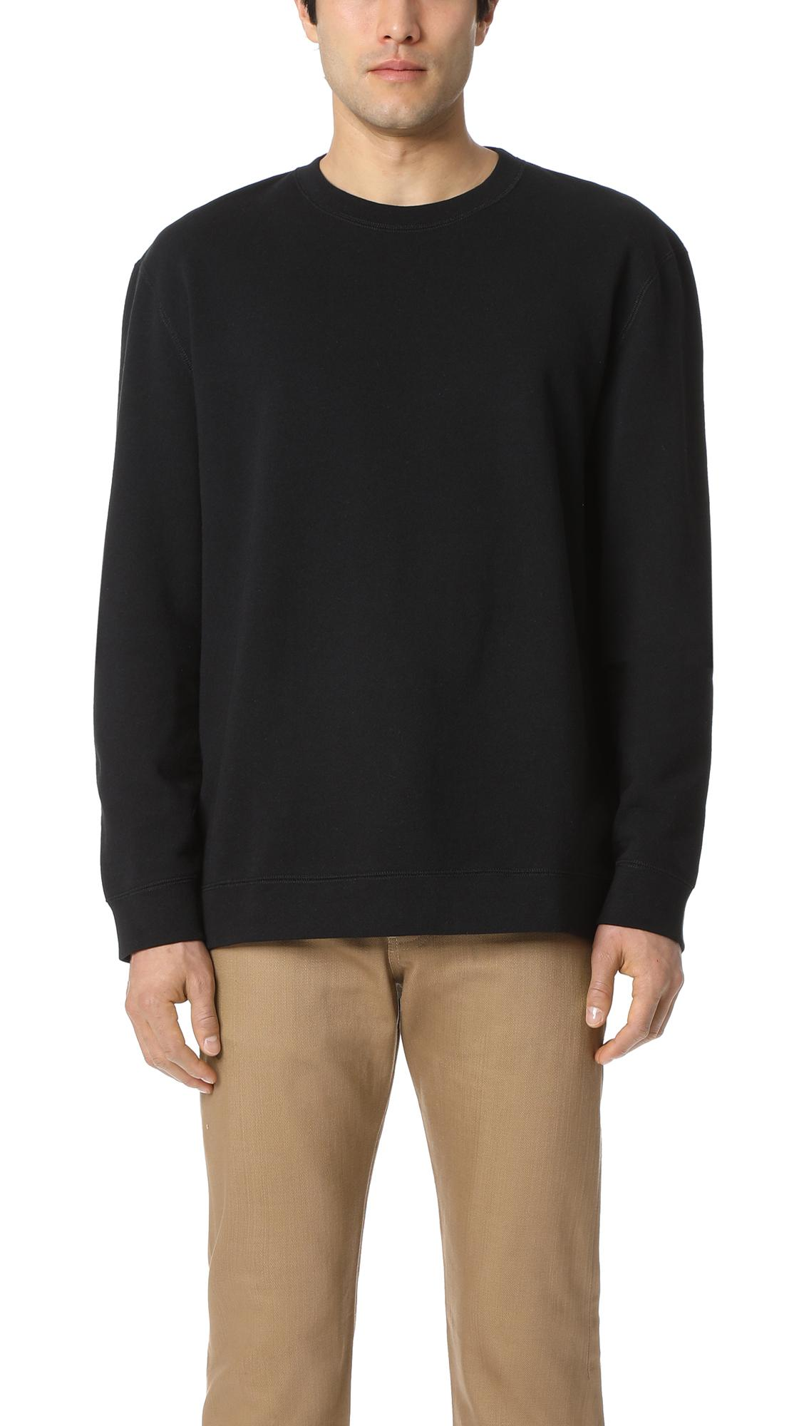 Naked  Famous Slim Crew - French Terry Black Sweatshirt  Modesens-3150