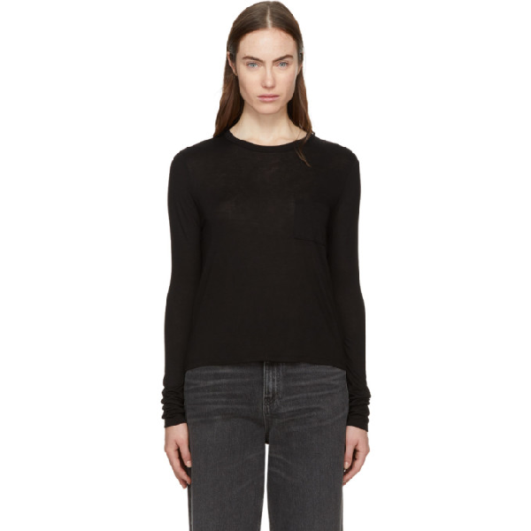 Alexander Wang T Classic Cropped Long Sleeve Tee In 001 Black