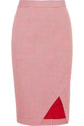 c596bbb593f5b4 Altuzarra Woman Wilcox Gingham Cotton-Blend Wrap-Effect Skirt Red ...