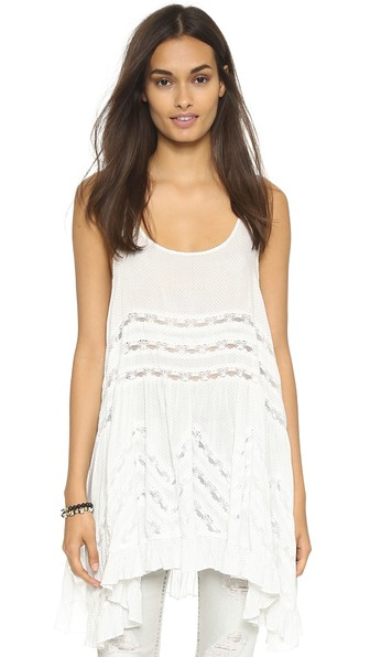 Free People Slip Dress - Voile Trapeze In White Combo