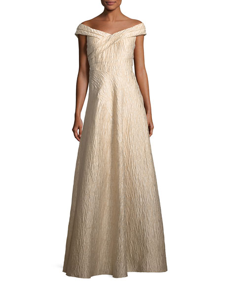 Aidan Mattox Off-the-shoulder Jacquard A-line Gown In Light Mink