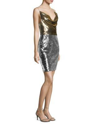 dd2289ea1d108 Black Halo Lucy Colorblock Dress In Gold Silver Light | ModeSens