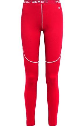 Perfect Moment Monogram-trimmed Jersey Thermal Leggings In Red