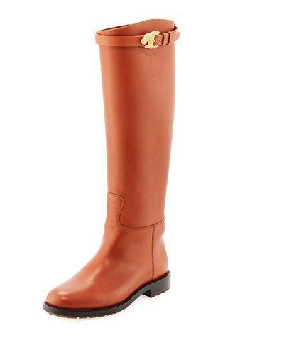 Valentino Animalia Lion-Buckle Leather Knee-High Boot In Medium Brown