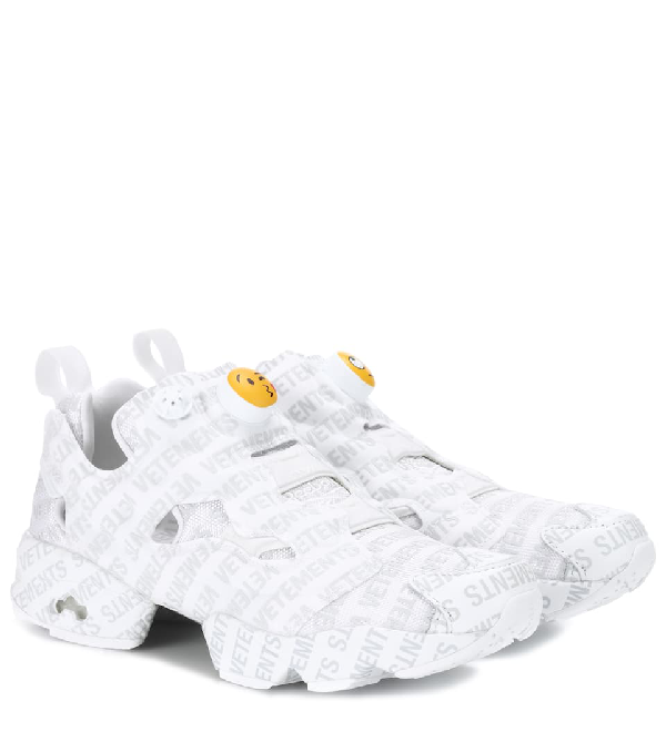 Vetements White X Reebok Logo Instapump Fury Sneakers