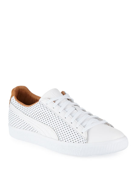 Puma Men's Clyde Perforated Leather Creeper Sneakers In White