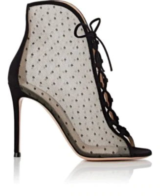 0c4c48e17a Gianvito Rossi 105 Lace-Up Swiss-Dot Mesh Ankle Boots In Black ...