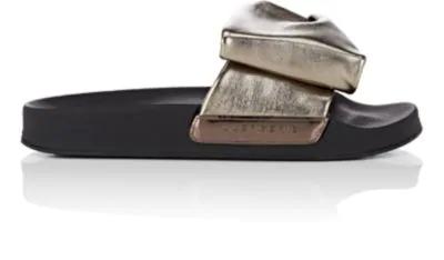 Robert Clergerie Wendy Metallic Leather Slide Sandals