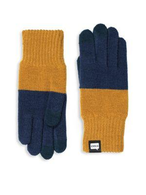 Evolg Two-tone Touchscreen Gloves In Navy/ Yellow