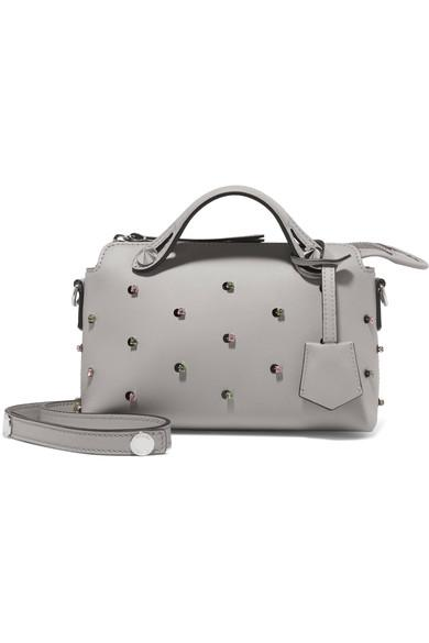 5db8c6d5c3d306 Fendi Mini By The Way Crystal Embellished Convertible Leather Crossbody Bag  - Grey In Gray