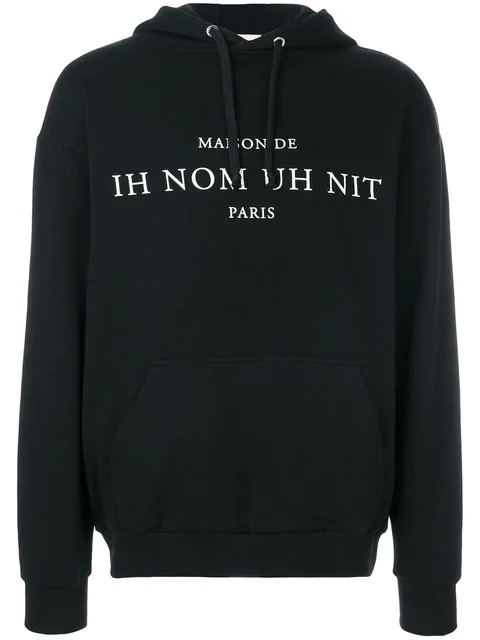 Ih Nom Uh Nit Printed Text Hoodie In Black