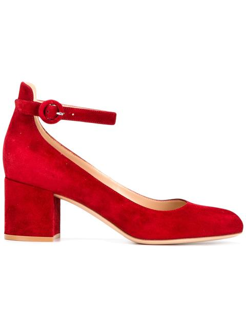 Gianvito Rossi Greta Block-heel Suede Pumps In Red