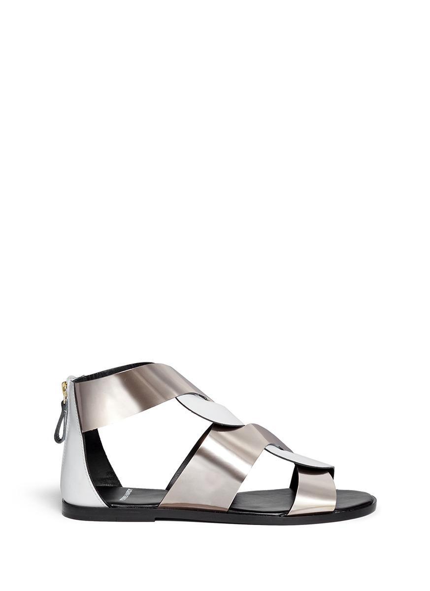 Pierre Hardy Twist Strap Metallic Leather Sandals In White