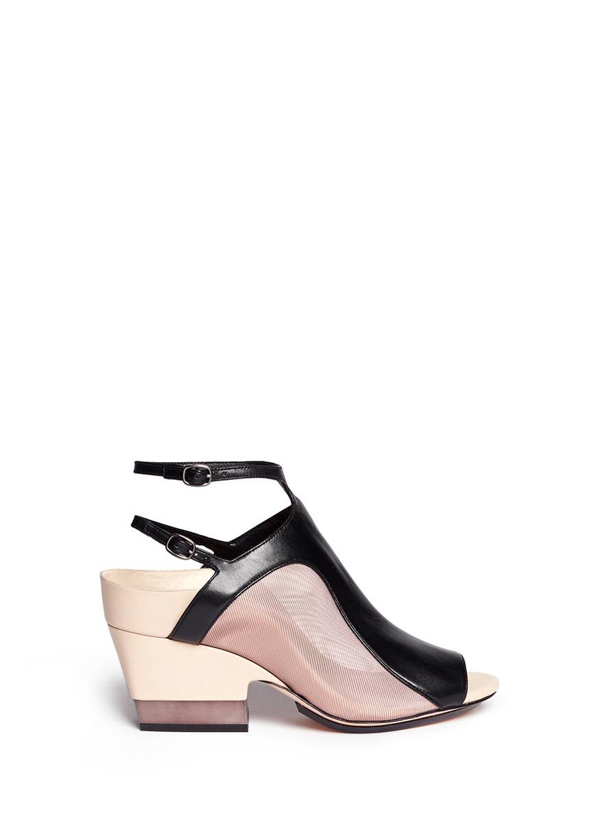 3.1 Phillip Lim ''Aria' Mesh Leather Chunky Combo Heel Sandals In Black