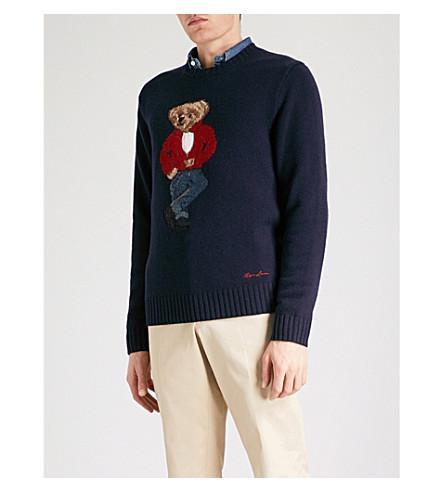 Bear In Jumper Polo Wool Navy OwXNPn80k