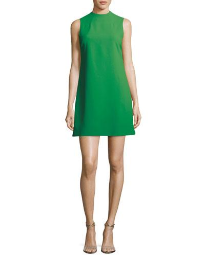 Alice And Olivia Coley Mock-neck Sleeveless A-line Dress In Green