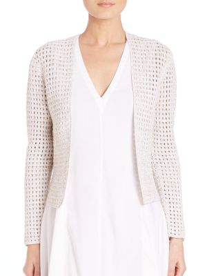 Theory Ganes D. Iras Open-knit Cardigan In White Mix