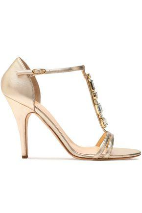 Giuseppe Zanotti Woman Crystal-Embellished Metallic Leather Sandals Gold