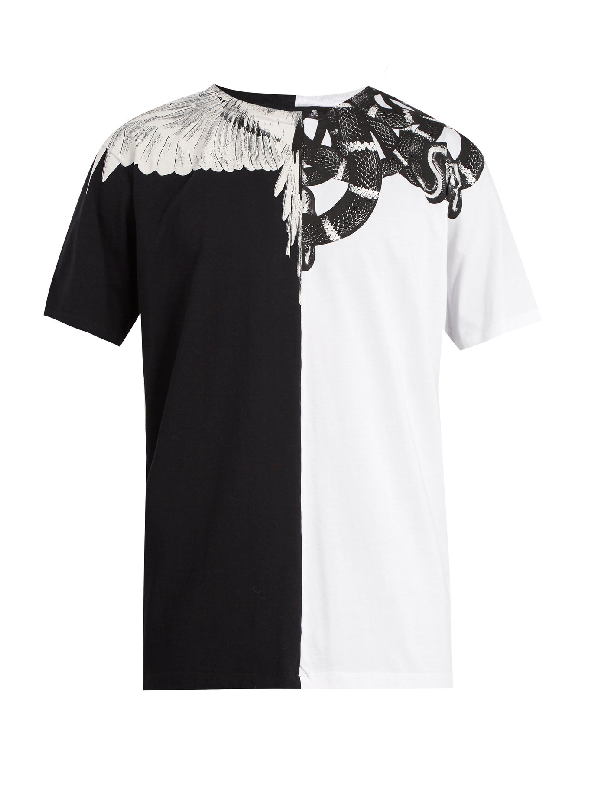 9a26847915c Marcelo Burlon County Of Milan Marcelo Burlon Men s Black And White Snake  And Wing T-
